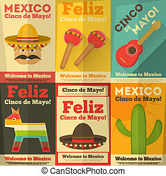 Mexican Posters in Retro Style. Cinco de Mayo. Vector...