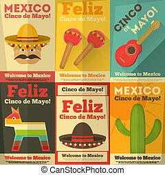 Mexican Posters in Retro Style. Cinco de Mayo. Vector ...