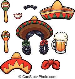 Mexican props - Mexican party props. Vector clip art ...
