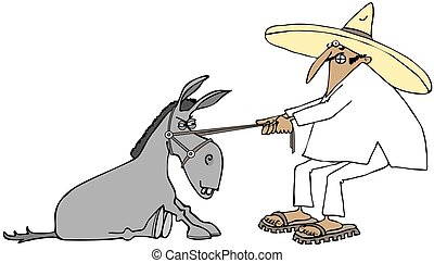 Mexican pulling a stubborn donkey - This illustration...