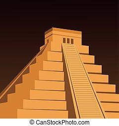 mexican pyramid ancient civilization aztec vector illustration