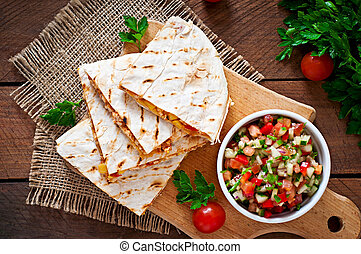 Mexican Quesadilla wrap with chicken, corn and sweet pepper...