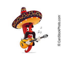 Mexican red chili pepper mariachi in sombrero - Mexican red ...