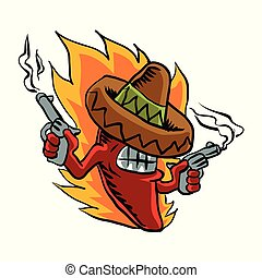 Mexican red chili pepper with guns. vector illustration