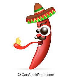 Mexican red hot chili pepper