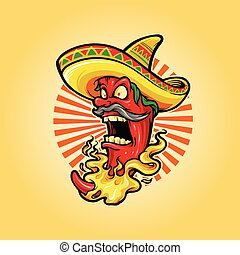 Mexican Red Hot Chili Pepper with hat icon Mascot Logo
