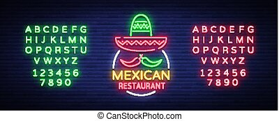 Mexican restaurant is a neon sign. Bright glow sign, neon banner, luminous logo, symbol, nightly advertisement of Mexican food. Design template. Vector illustration. Editing text neon sign