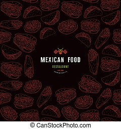Mexican restaurant label and frame with pattern. Design...