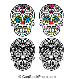 Mexican retro sugar skull icon - Vintage and colorful...