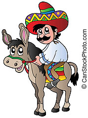 Mexican riding donkey - vector illustration.
