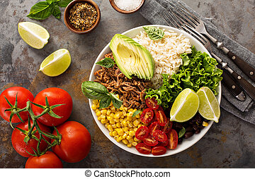 Mexican salad bowl with rice and pulled pork - Mexican salad...
