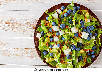 Mexican Salad with Blueberries on a plate