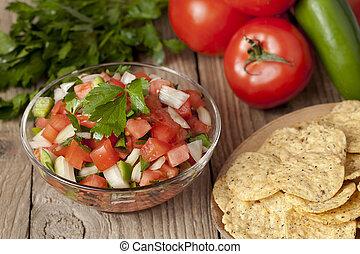 mexican salsa and nachos