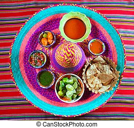 Mexican sauces spices chili on Mexican hat - assorted...