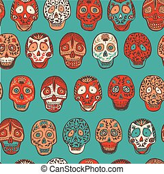 Mexican scull pattern in vector.