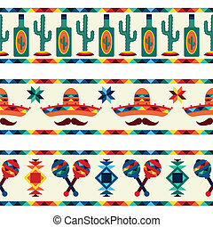 Mexican seamless borders with icons in native style.