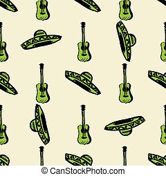 seamless music pattern with sombrero hat and  guitar