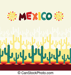 Mexican seamless pattern with cactus in native style.