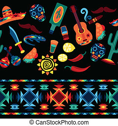 Mexican seamless pattern with icons in native style.