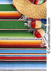 Mexican serape blanket with sombrero
