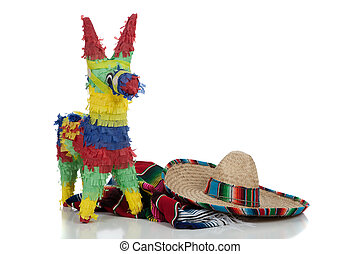 Serape, sombrero and pinata on a white background with copy space