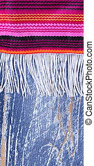 Mexican serape with fringe for Cinco de Mayo holiday background