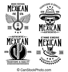 Mexican set of four vector emblems, labels, badges or logos in monochrome vintage style isolated on white