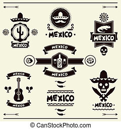 Mexican set of labels and stickers with icons.