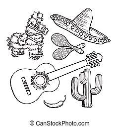 Mexican set sombrero, pinata, maraca, cactus, chili and...