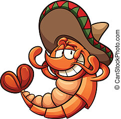 Mexican shrimp - Cartoon Mexican shrimp relaxing. Vector...