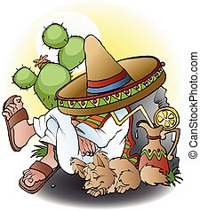 Mexican siesta cartoon illustration vector drawing
