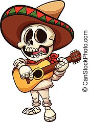 Mexican skeleton - Mexican musician skeleton with guitar....