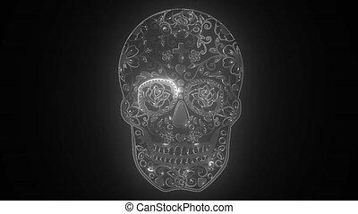 mexican skull - flower ornament - el dia de los muertos - day of the dead video animation