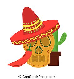 mexican skull hat cactus and chili pepper