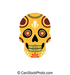 Mexican skull icon, flat style