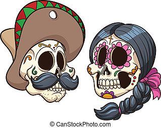 Mexican Skulls - Cartoon mexican skulls. Vector clip art...