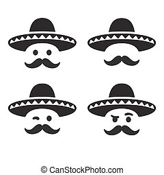 Mexican sombrero hat with face - Mexican sombrero hat with...