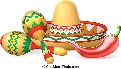 Mexican Sombrero Maracas and Chilli Pepper - A Mexican...