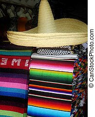 Mexican sombreros and blankets