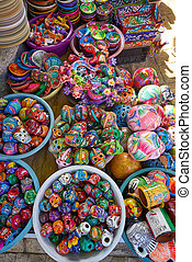 Mexican souvenirs colorful handpainted crafts