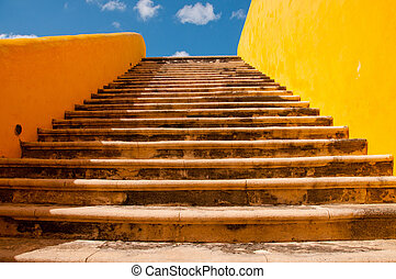 Staircase at the fort in Campeche, Yucatan, Mexico