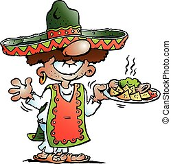 Mexican standing with Tarco Food - Vector Cartoon...