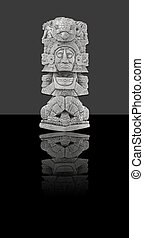 Mexican statue (isolated) - Mayan statue of stone from...