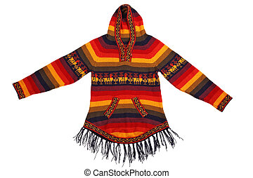 Mexican style knitted jacket isolated