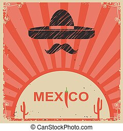 Mexican style poster with sombrero on old paper