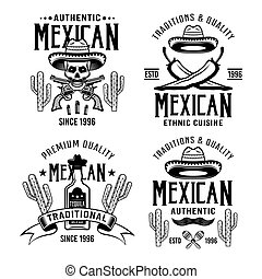Mexican style set of four vector emblems, labels, badges or logos in monochrome isolated on white