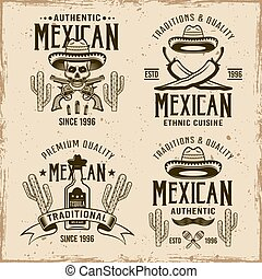 Mexican style set of four vector emblems, labels, badges or logos in vintage style on dirty background with grunge textures