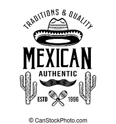 Mexican style vector emblem, badge, label or logos in monochrome vintage style isolated on white