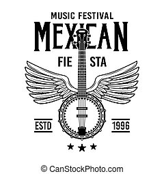 Mexican style vector emblem, badge, label or logos with banjo in monochrome vintage style isolated on white