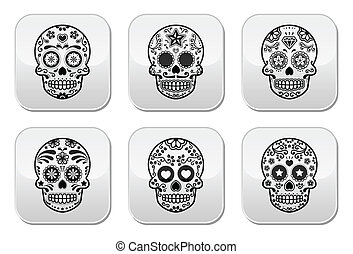 Vector icon set of decorated skull - tradition in Mexico, black icons isolated on white